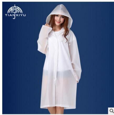 Cheap Sale Women Long Jacket Semi Transparent Waterproof Women Hooded Rain Coat EVA Friendly Women Ponchos Jackets