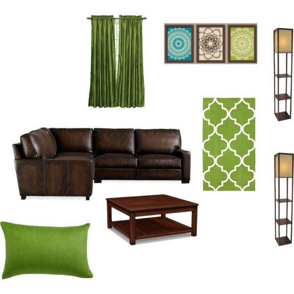 Something like this for a green and brown living room. Teal/turquoise accents.