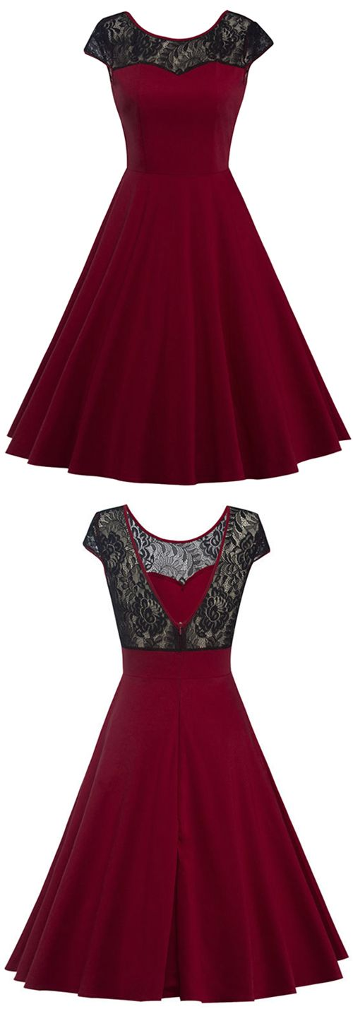 $25.99 Only with free shipping&easy return~! This splicing piece is detailed with v back&waisted design! Lace splicing dresses are such an easy way to look effortlessly chic!