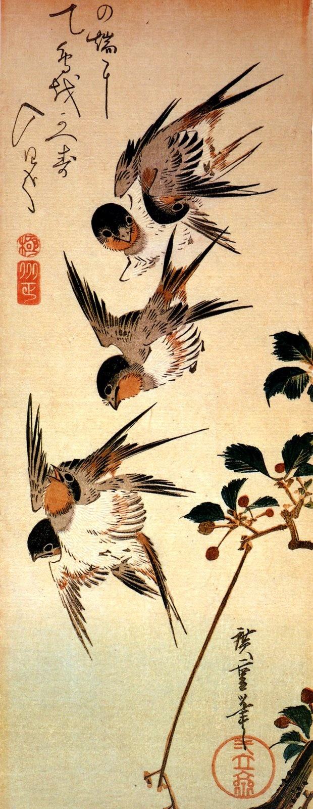 I know this isn't Art Nouveau, but I really like the style of these birds! [[ Utagawa Hiroshige ]]