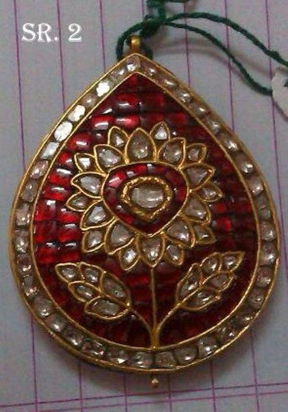 Kundan Meena Jadau Real Ruby Polki Diamond Flower Pendant in 23K Gold For Wedding / Engagement