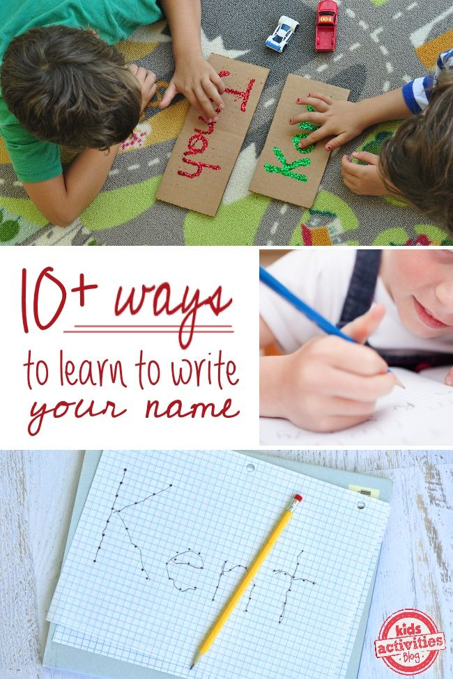 10 ways to learn to write your name - fun ideas for preschoolers that aren't traditional paper and pencil!