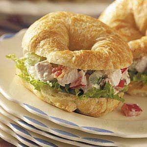 Mini Chicken Salad Croissants ~ Fresh-tasting and great for a wedding or baby shower or any get-together, this popular chicken salad could also be served on lettuce or a slice of cantaloupe or honeydew melon.