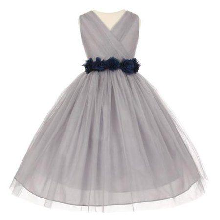 298abe0fdfb Big Girls Silver Navy Chiffon Flowers Tulle Junior Bridesmaid Dress 12   bridesmaiddresses