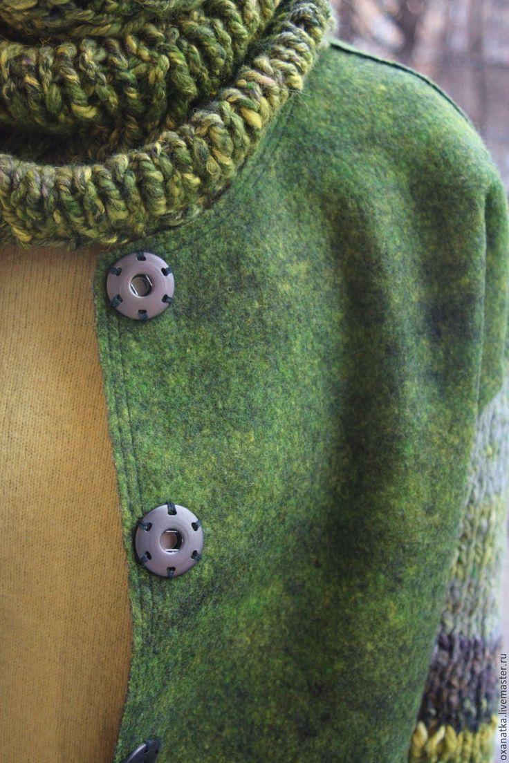 Купить Валяная куртка Тайга - зеленый, авторская ручная работа, смешанная техника, бомбер
