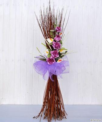 Decorazione fiori artificiali Rosita fucsia 35