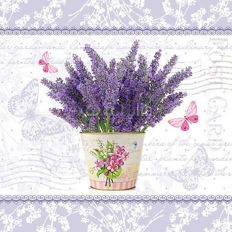Flowering Lavender Decoupage Napkin