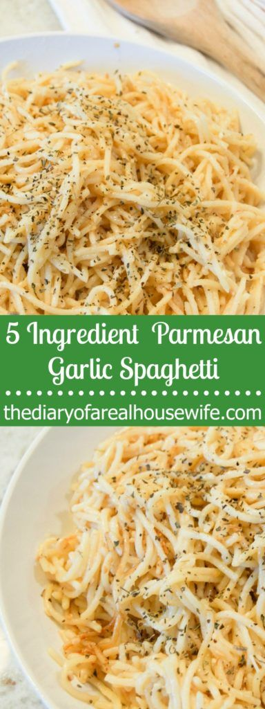 5 Ingredient Parmesan Garlic Spaghetti. Easy dinner recipe that your family is going to love. I added this one to my meal plan again this week!