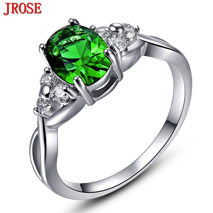 JROSE 2016 New Fashion Jewelry Green & White CZ White Gold Color Ring Size 6 7 8 9 10 WomenMen Wedding Gift