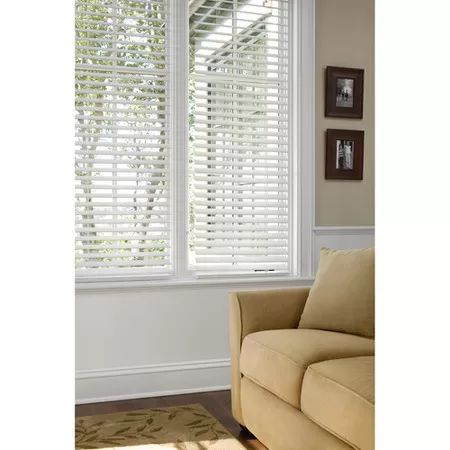 """Better Homes and Gardens 2"""" Faux Wood Blinds, White I would love to have wood blinds in every window like this or maybe shudder style in a light or med wood, not sure about white or cream , then sheers and window  treatment"""