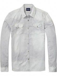 Scotch&Soda světle šedá pánská košile Western - 2025 Kč