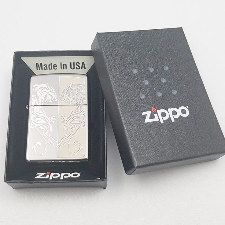 Zippo Original Lighter Twin Tiger SI Authentic Windproof Made USA Gift 6Flint #Zippo