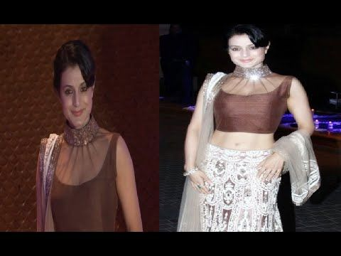 Ameesha Patel in low waist lehenga choli at Riddhi Malhotra's wedding sangeet function.