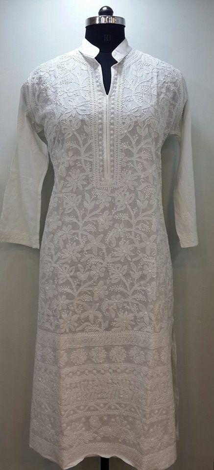 Lucknow Chikan Online Kurti White on White cotton with very fine chikankari murri, shadow & kangan work with designer neckline & daaman   $53