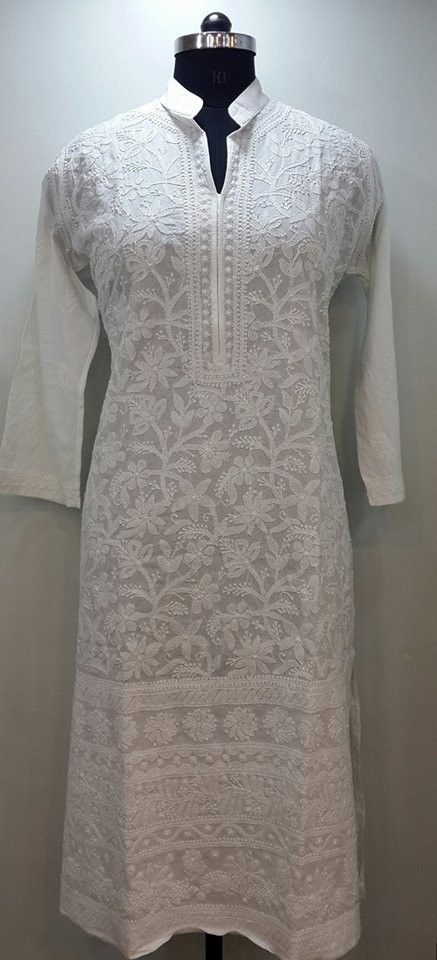 Lucknow Chikan Online Kurti White on White cotton with very fine chikankari murri, shadow & kangan work with designer neckline & daaman   $53