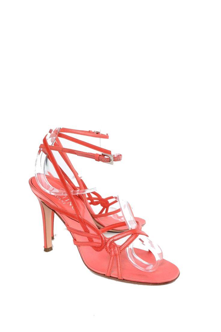 Sandali rossi corallo in pelle VALENTINO Tg 35.5