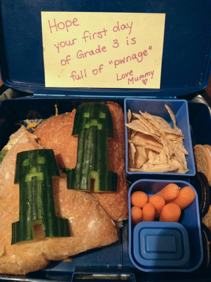 Minecraft lunch for the first day of school. How'd I do? - Imgur