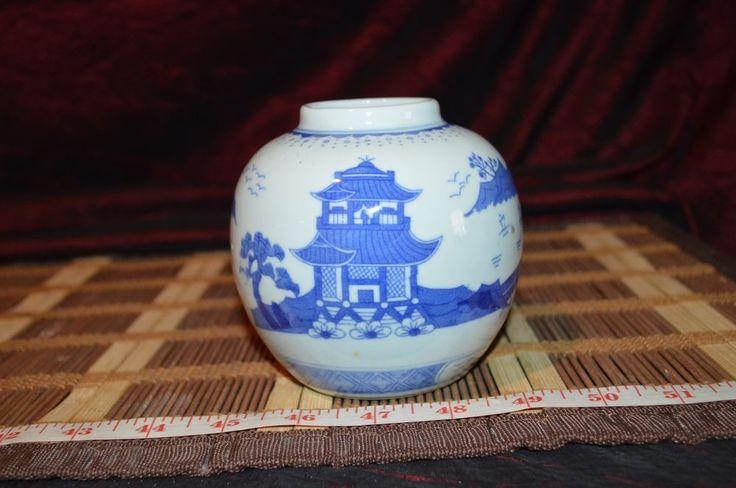 """Blue & White Porcelain Asian Vase Outdoor Scene 4""""x3 3/4"""""""