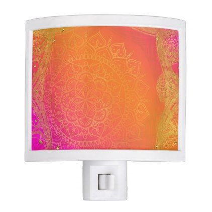 Fuchsia Pink Orange & Gold Indian Mandala Glam Night Light - modern style idea design custom idea