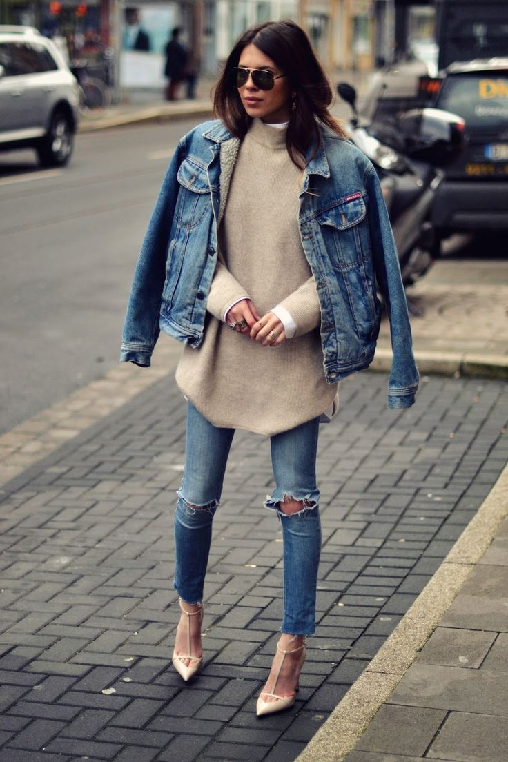Love this oversized denim jacket with skinny jeans and a pair of high heals #fashion #denim #style
