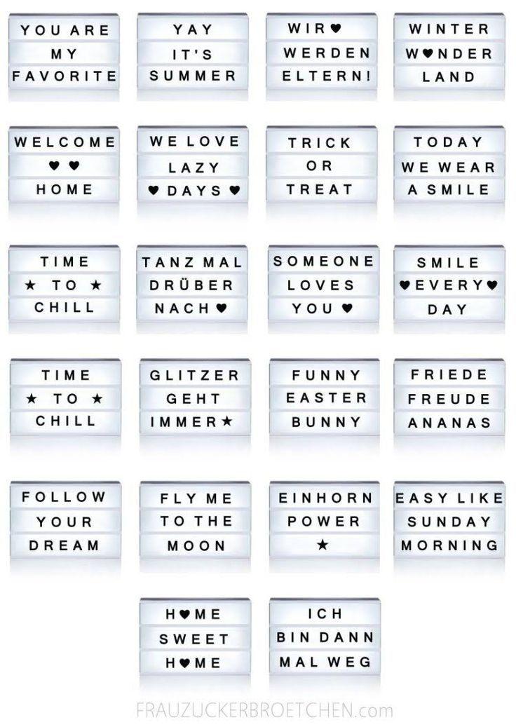 70 coole Sprüche für deine Lichtbox – #coole #de…