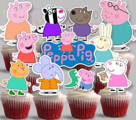 PRINTABLE Peppa Pig Cupcake toppers-2 Instant by JoJoPartyPrint