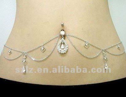 belly button piercing waist chain