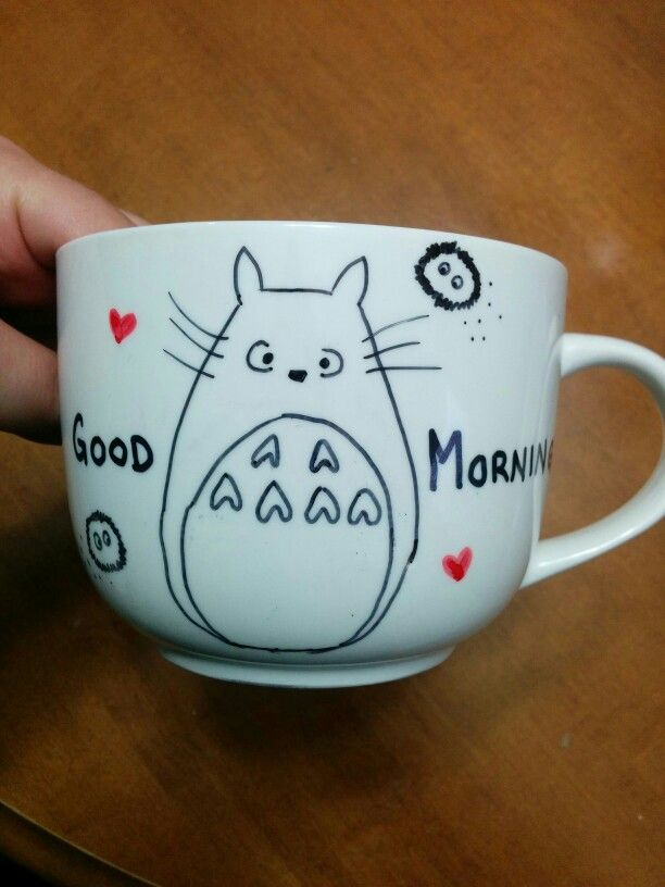 DIY Sharpie Mug. #Totoro Good Morning! #SharpieMug #SharpieDIY #SharpieMugDIY