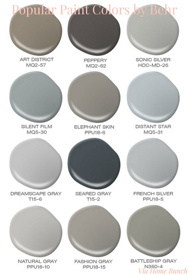 Popular Behr Paint Colors. Behr Best Sellers. Behr Art District. Behr Peppery. Behr Sonic Silver. Behr Silent Film. Behr Elephant Skin. Behr Distant Star. Behr Dreamscape Gray. Behr Seared Gray. Behr French Silver. Behr Natural Gray. Behr Fashion Gray. Behr Batleship Gray. popular-paint-colors-by-behr Via Home Bunch