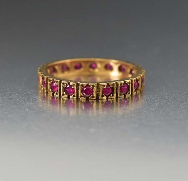 Antique Ruby Eternity Wedding Band Ring