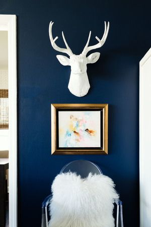 Faux stag head, faux taxidermy deer, Benjamin Moore old navy, living room ghost chair, sheep pillow