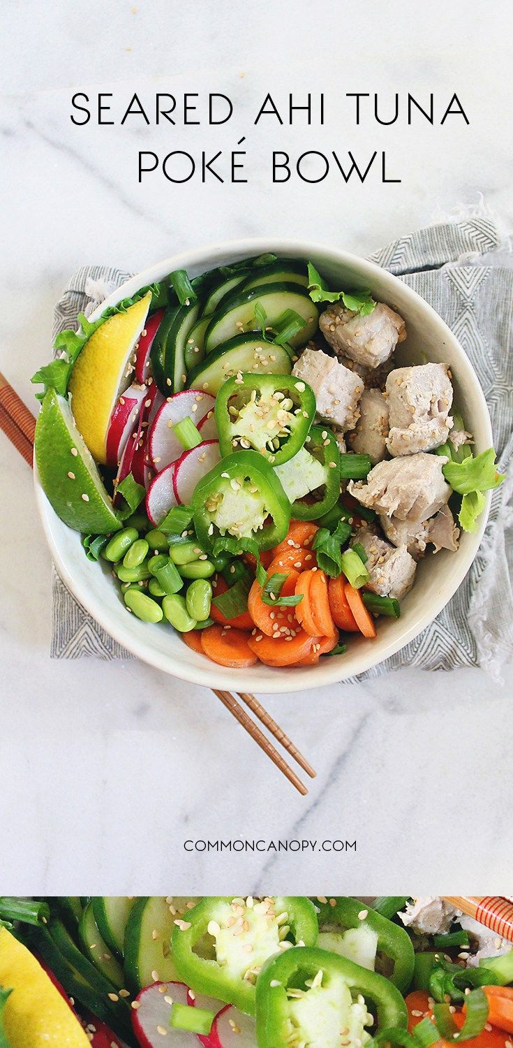 Seared Ahi Tuna Poke Bowl | CommonCanopy.com | A traditional Hawaiian meal that is totally delicious!