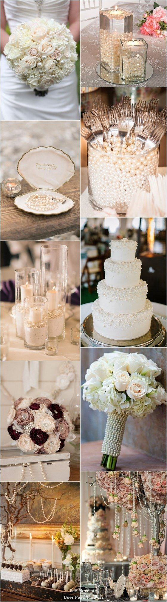 Vintage pearls wedding ideas and themes / http://www.deerpearlflowers.com/vintage-pearl-wedding-ideas/