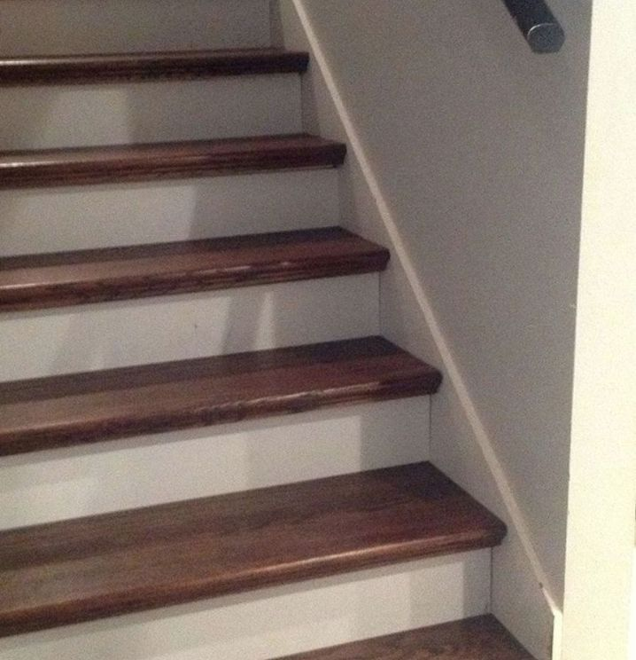 Retro treads from Lowes to upgrade staircase.  Awesome!  From Carpet to Wood Stairs Redo - Cheater Version... - You know all of those stair tutorials that are a lot of work... lots of scraping and lots of painting. We…