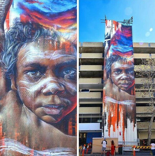 Aboriginal mural portrait Indigenous street painting australia adnate