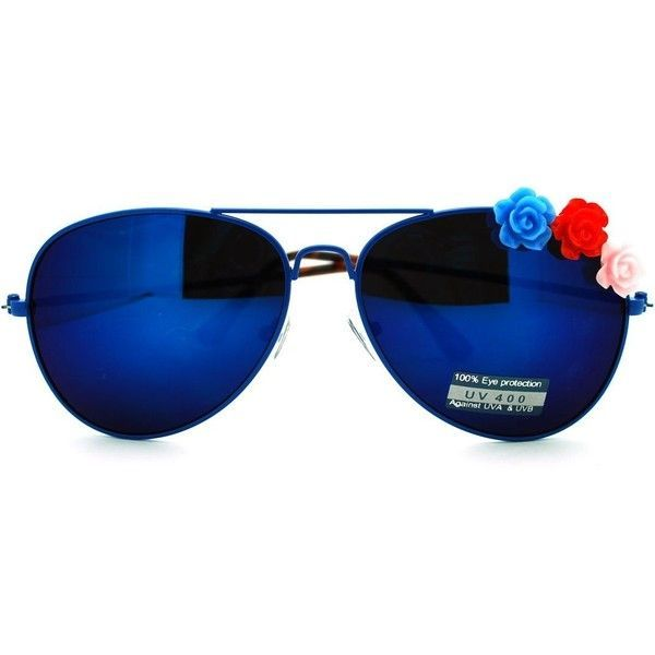 Rose Flower Ornament mirrored Lens Women's Aviator Sunglasses (470 DOP) ❤ liked on Polyvore featuring accessories, eyewear, sunglasses, blue aviator sunglasses, flower glasses, aviator style sunglasses, blue glasses and mirror lens sunglasses