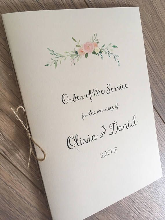 Order of Service / Order of the day Booklets, for Church Mass, Wedding Programme. Boho floral Order of Service booklet with floral motif Size A5 (Folded A4) : Measurements - 21cm x 14.5cm / 8.5 x 5.5 These booklets can also be used as Menus. £2.20 each (Priced in GBP) Price Breakdown: Order of service booklets: - Booklet cover - 4 pages (1 x A4 sheet) - tied with twine = £2.20 each Extra a4 pages cost +£0.50 each. This listing is for 1 sample Order of Service Booklet. If...