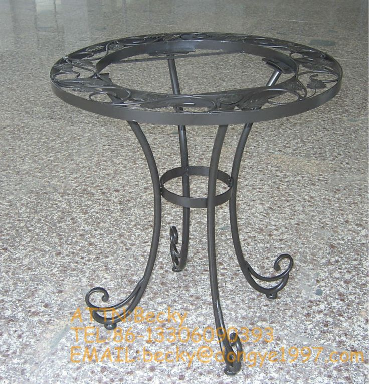 Round wrought iron coffee table legs view metal coffee for Glass coffee table wrought iron legs
