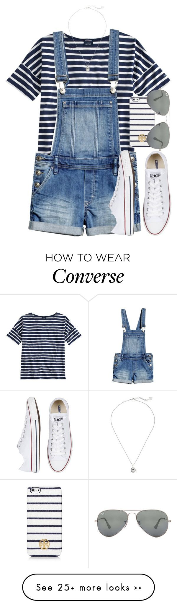"""stripes"" by tabooty on Polyvore featuring Saint James, Converse, Kendra Scott, Tory Burch and Ray-Ban"