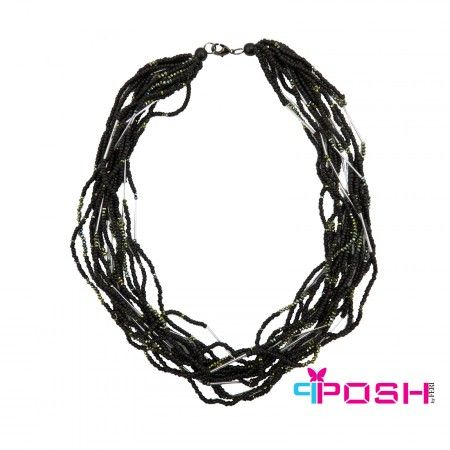Shasa - Necklace  - Safari Collection by POSH - Necklace with black wooden beads in multiple strands - Accented in silver metal and shades of green beading  POSH by FERI - Passion for Fashion - Luxury fashion jewelry for the designer in you.  #networking #direct #sales #fashion #designer  #brand #onlineshopping #workingfromhome #necklace #accesories