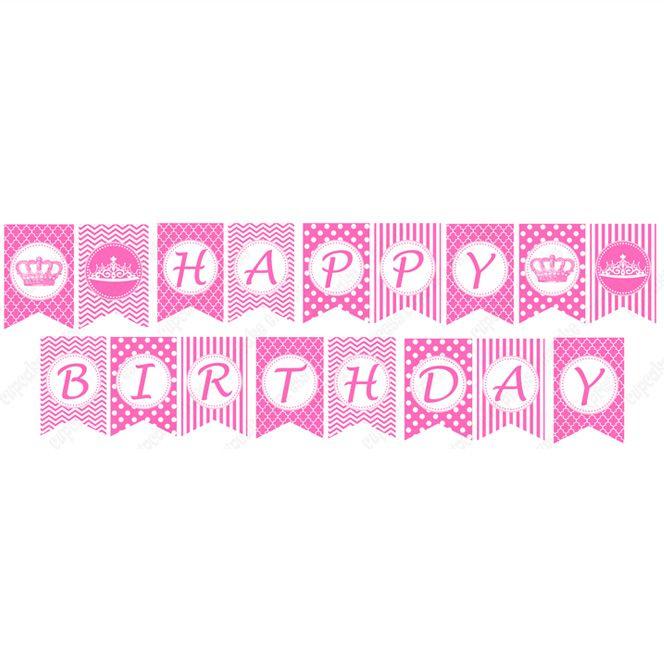 pink princess printable diy happy birthday banner