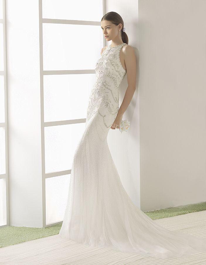 Vega - Lightweight beaded soft tulle dress with halter neckline and beaded embroidery back, in natural.