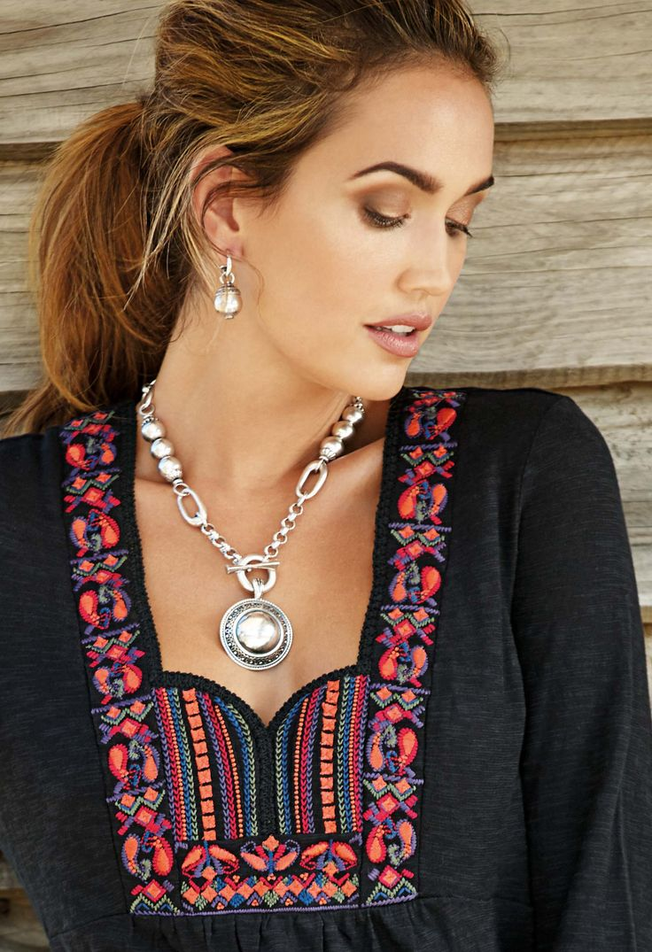 #miglio N1412 Contemporary mixed chain necklace in burnished silver with silver beads EN1209 Burnished silver disc pendant with delicate filigree detail and rope edge