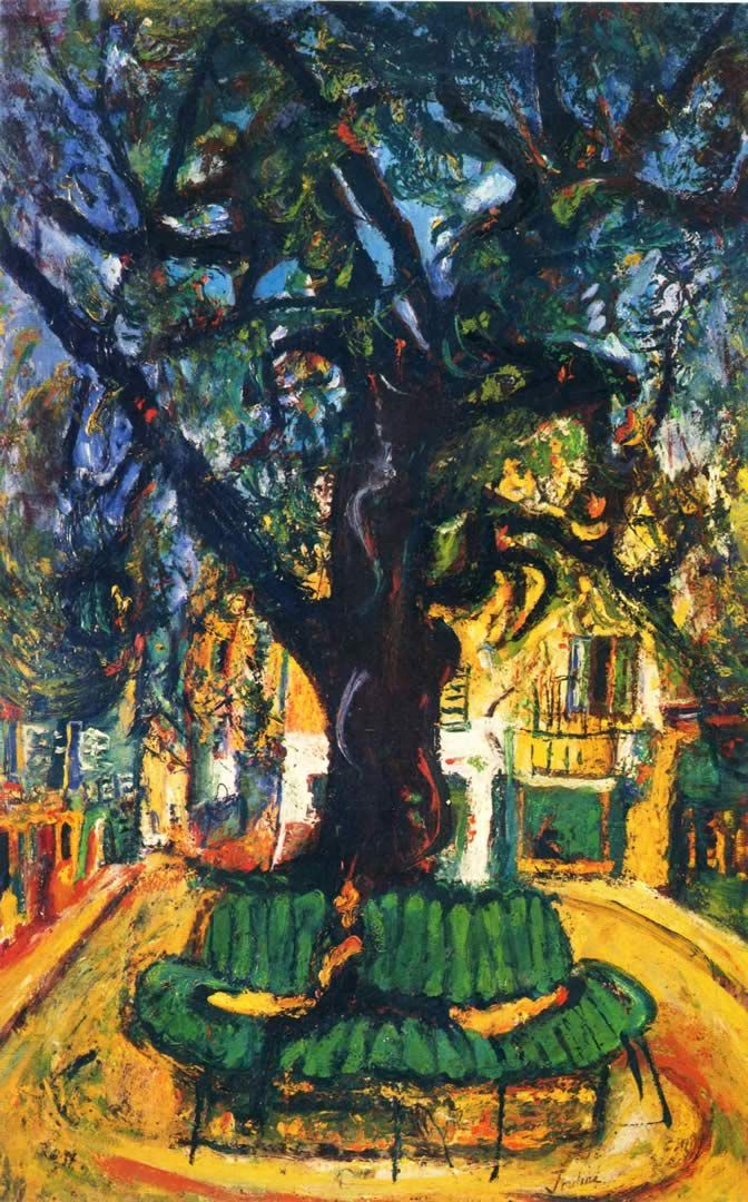 Small Town Square in Venice, An expressionist painter constantly dissatisfied with his talent, Chaim Soutine portrayed his own violent emotions in his work using vivid colors and distorted images. His artistic style mixed his Jewish heritage with Fauvism and Cubism