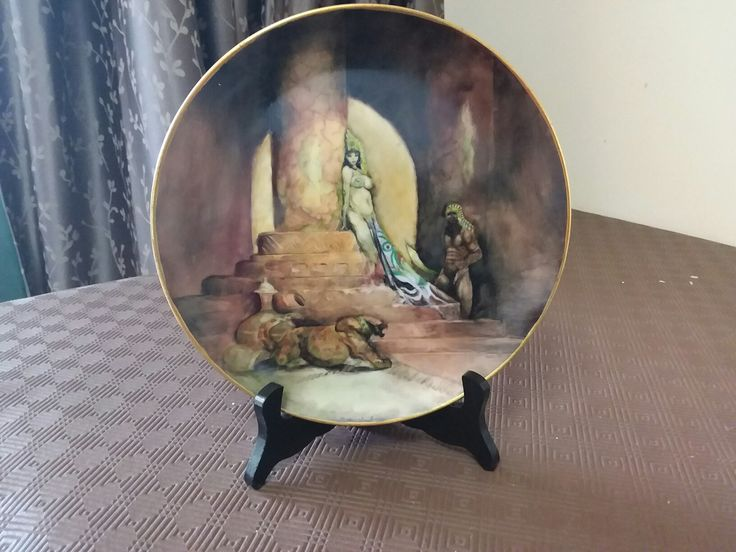 Hand painted porcelain by Nellie. Based of the artwork of  Frazetta's egyptian queen.