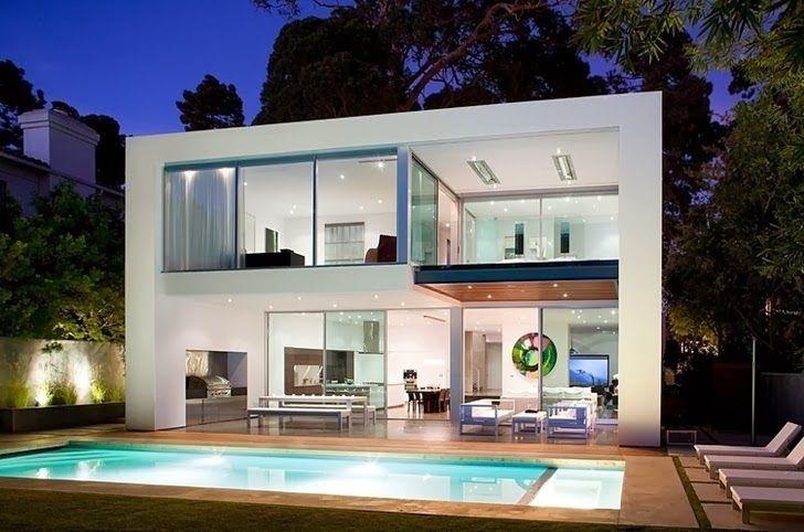 Rumah Mewah 2 Lantai Kolam Renang Dengan Konsep Fasad Rumah Yang Modern Minimalis Berdiri Diatas Lahan Berbentu Di 2020 Desain Exterior Rumah Rumah Modern Kolam Renang