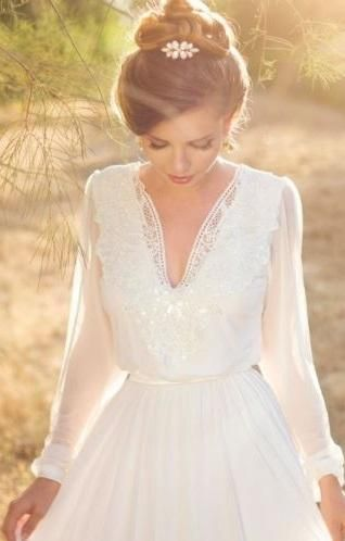 Chiffon & Satin Bohemian Wedding Gown with Lace Applique Neckline & Full Sleeves