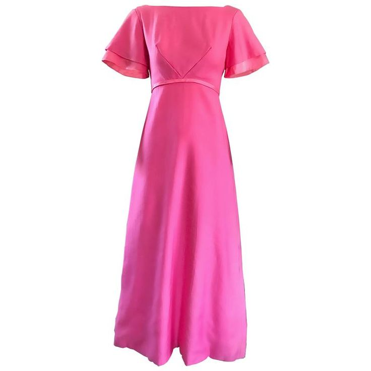 1970s Emma Domb Bubblegum Pink Short Sleeve Vintage 70s Empire Waist Maxi Dress | From a collection of rare vintage maxi-dresses at https://www.1stdibs.com/fashion/clothing/day-dresses/maxi-dresses/