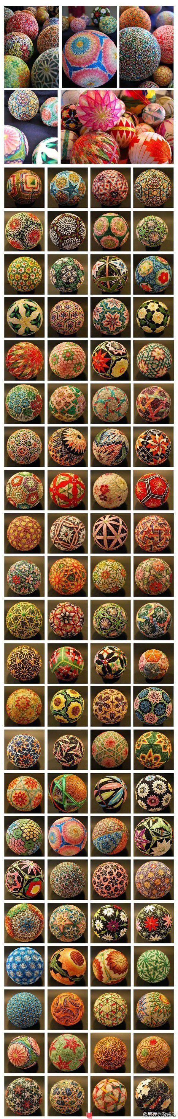 """encore des idées de création, les """" Temari Ball"""", c'est un art décoratif japonais, on peut réaliser une boule en environ 20 minutes avec du matériel simple. Et des tutoriels pour les réaliser: How to Make a Temari Ball (with Pictures) - wikiHow Aussi..."""