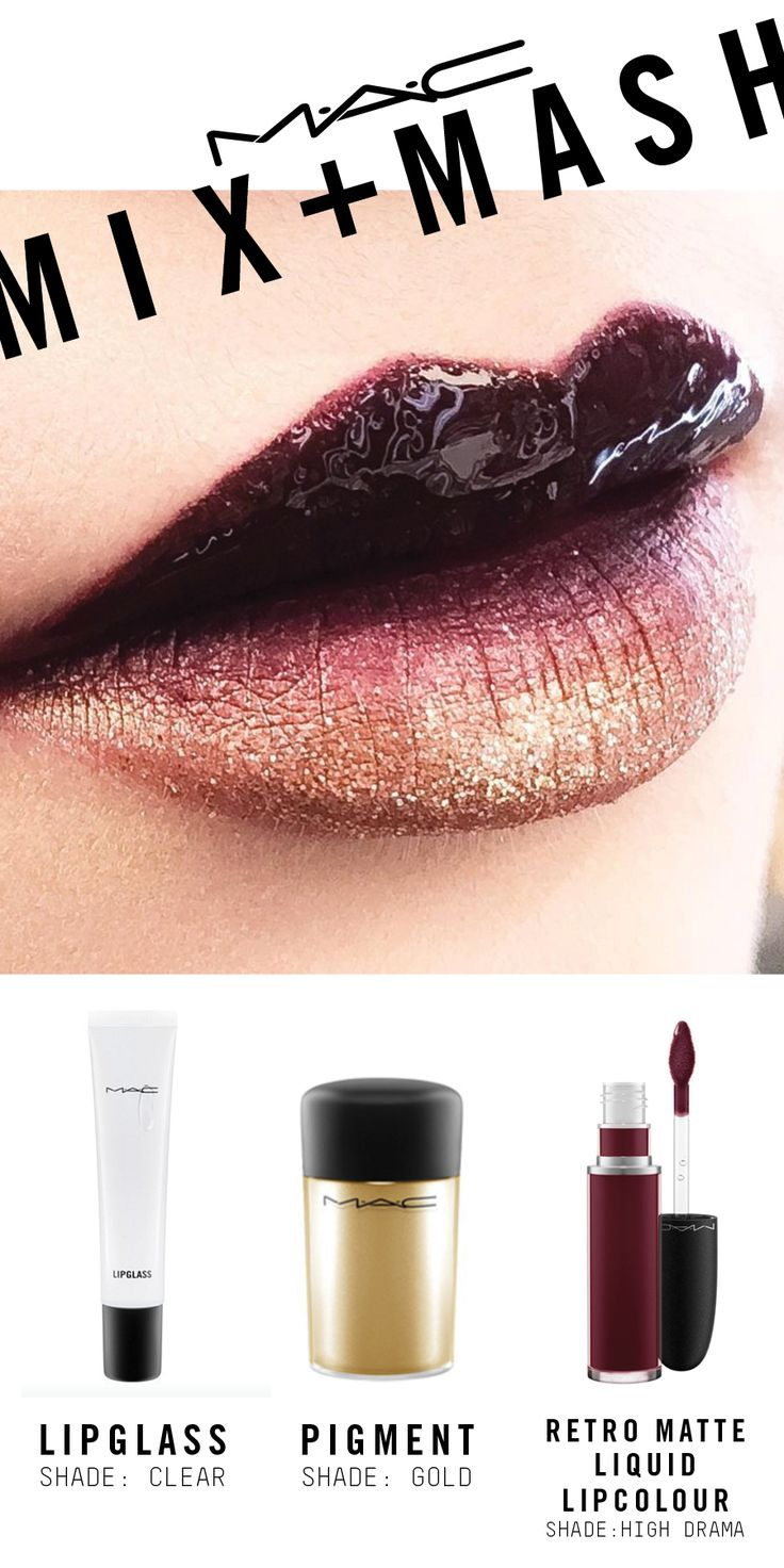 Created using Retro Matte Liquid Lipcolour in High Drama, Pigment in Gold and Lipglass in Clear